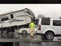 Nissan Faces A Bizarre Accident Involving Ram and Travel Trailer